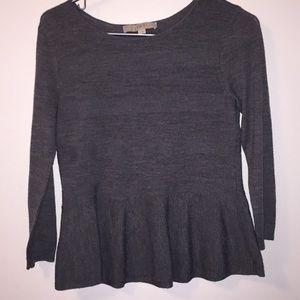 LOFT Gray long sleeve peplum Knit